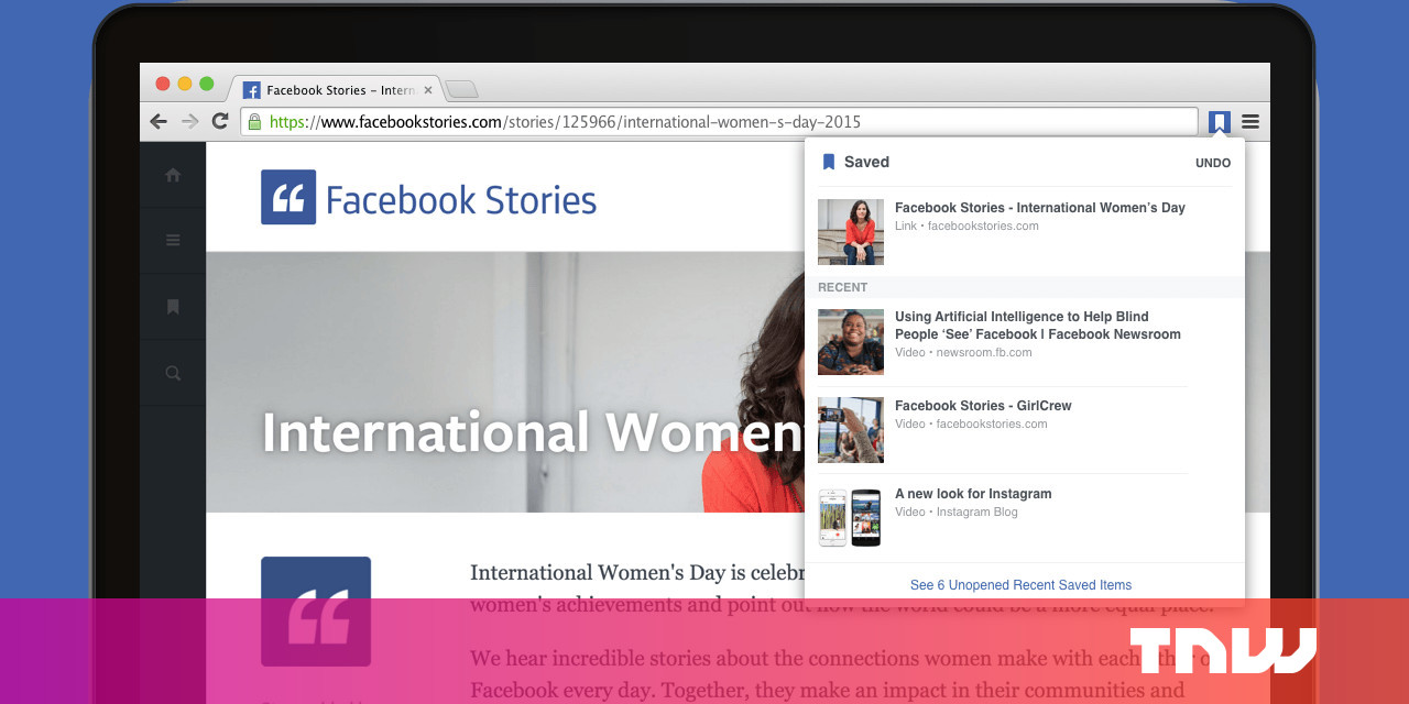 Facebook now has Save and Share extensions for Chrome