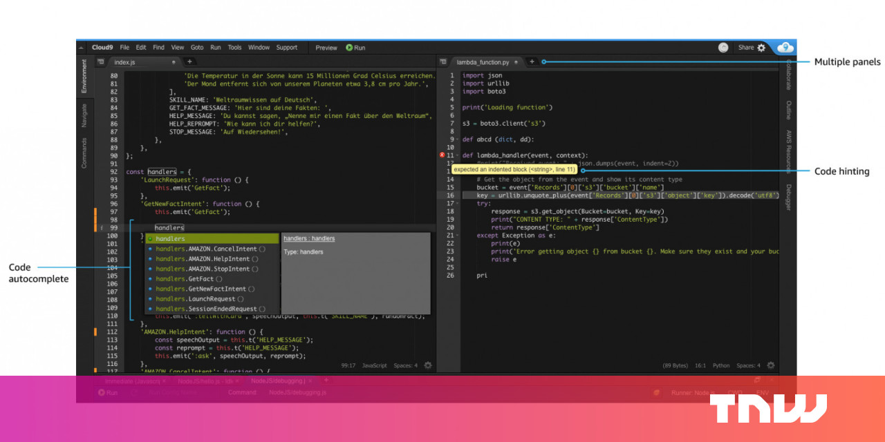 Amazon's AWS Cloud9 IDE lets you write, test, and debug code online