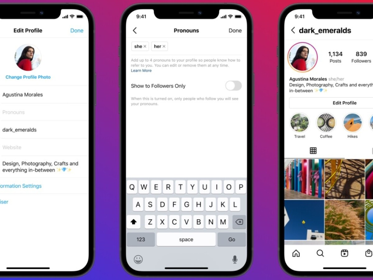 Instagram can now display your pronouns directly on your profile