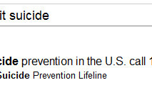 Google prefaces suicide related results with Prevention Hotline