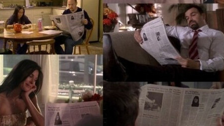 Everyone on TV and in the movies seems to read the same newspaper (!)