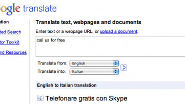 """This is odd. Google Translate says """"call us for free"""" in Italian is """"Call for free with Skype"""""""