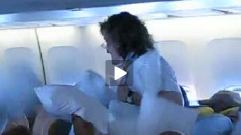Pillow Fight Breaks Out On Airliner