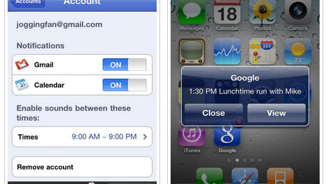 Gmail and Google Calendar push notifications come to the iPhone