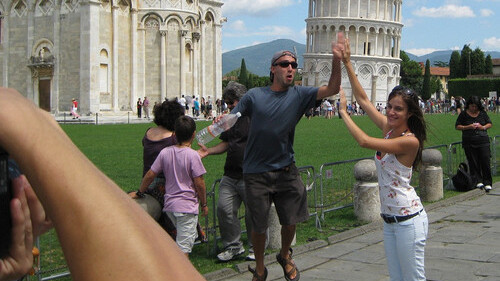 Leaning Tower of Pisa photo bomb