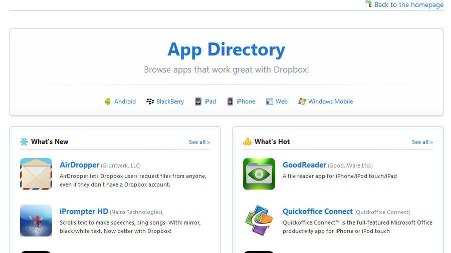 Dropbox updates its mobile platforms; announces BlackBerry support and App Directory
