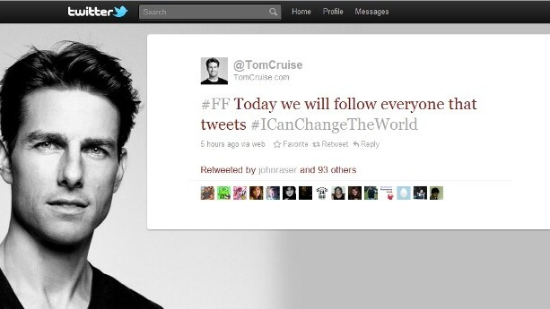 Mission possible: Tom Cruise following everyone today that tweets hashtag