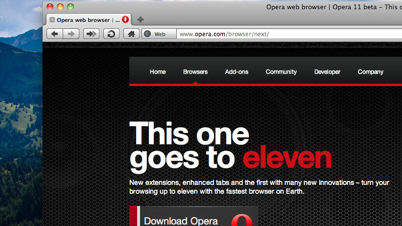 Opera 11 beta unveiled, now features tab stacking and extensions