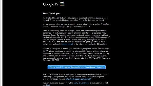 Google starts awarding free Google TVs to developers