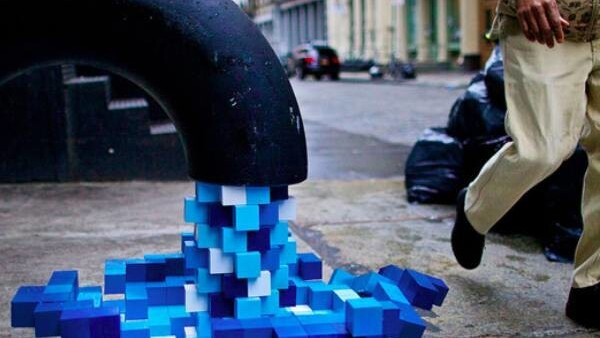 In New York City, pixelated art pours out into the street.