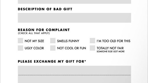 Do Not Want: Gift Complaint Form