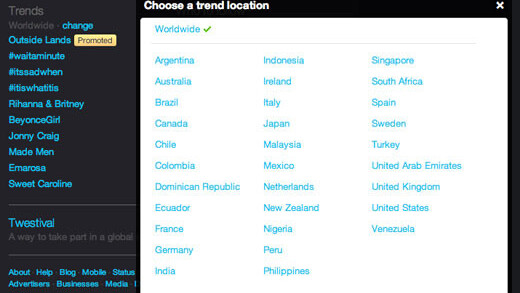 Twitter adds 70 new locations to Trends