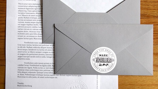 Mark Zuckerberg has his own personalized stationery, designed in house. We've got pictures.