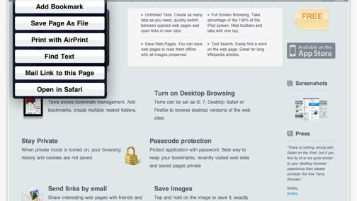 Terra, the iPad's best web browser, adds Twitter, Facebook & Instapaper support.