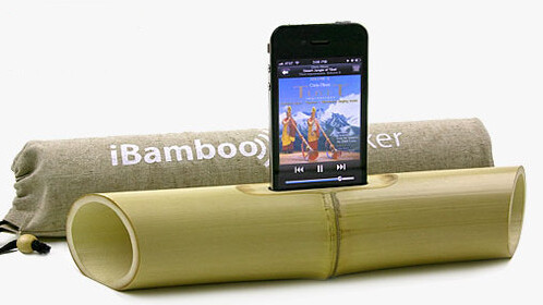iBamboo: an electricity-free iPhone 4 speaker system, and a nice snack for a panda