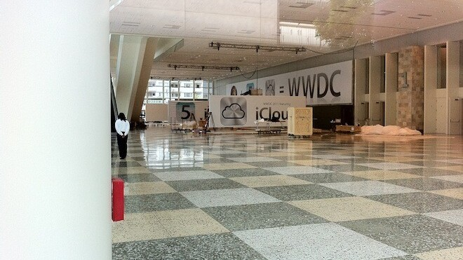 Spy shots from the setup of Apple's WWDC.