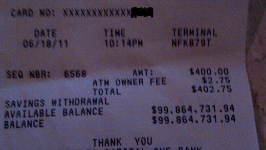 Show me the money! Check out this ATM receipt with a $100 MILLION available balance.