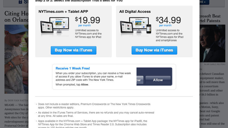 NYT gives Apple its 30% and adds in-app subscriptions to iPad app