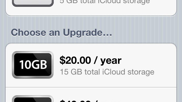 Apple's iCloud Pricing: 5GB free, $20 for 10GB, $40 for 20GB and $100 for 50GB