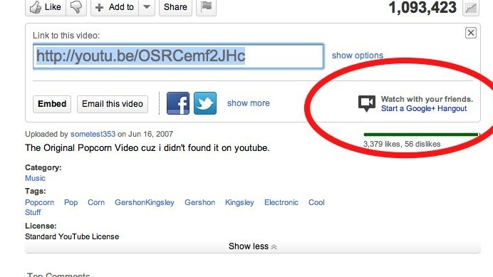 With one click on YouTube you can now watch videos with your friends on Google+