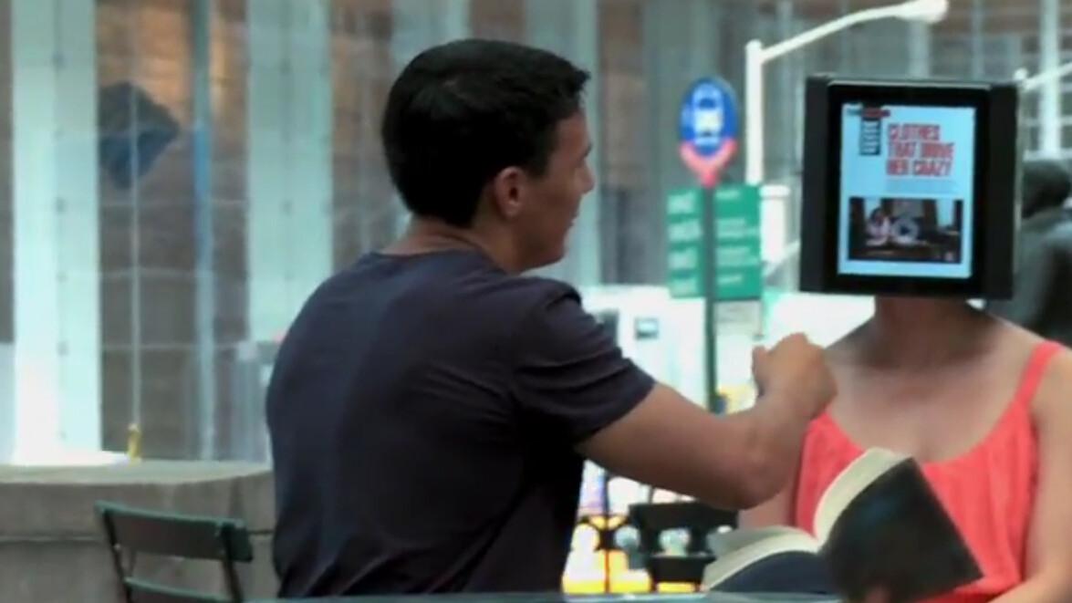 """iPad Head Girl"" walks around NYC to promote Hearst's first iPad only magazine"