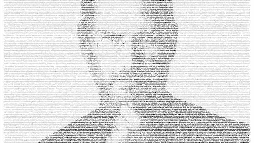 Beautiful: Public #thankyousteve Tweets visualised into a giant Steve Jobs poster