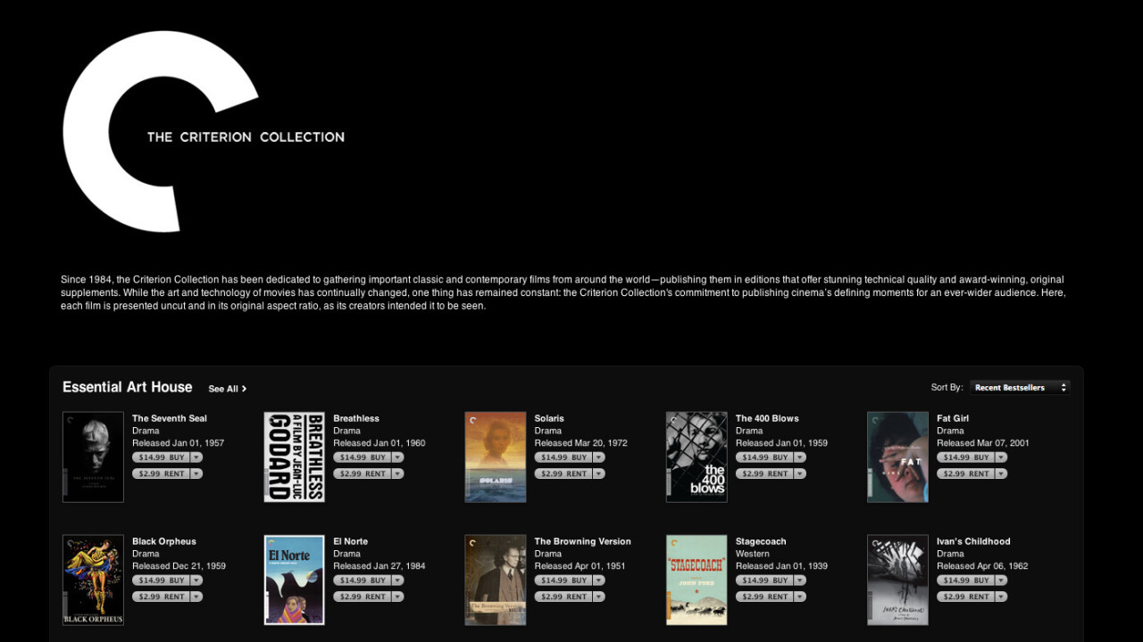 Rejoice Cinephiles: Criterion Collection has arrived on iTunes