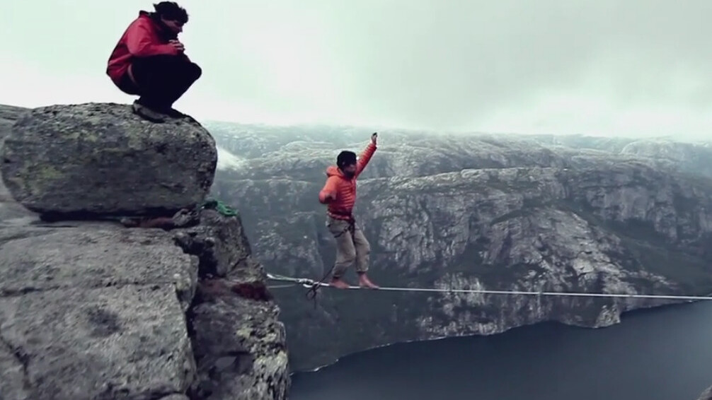 Highlining in the sky: These flying Frenchmen make Superman look lame.
