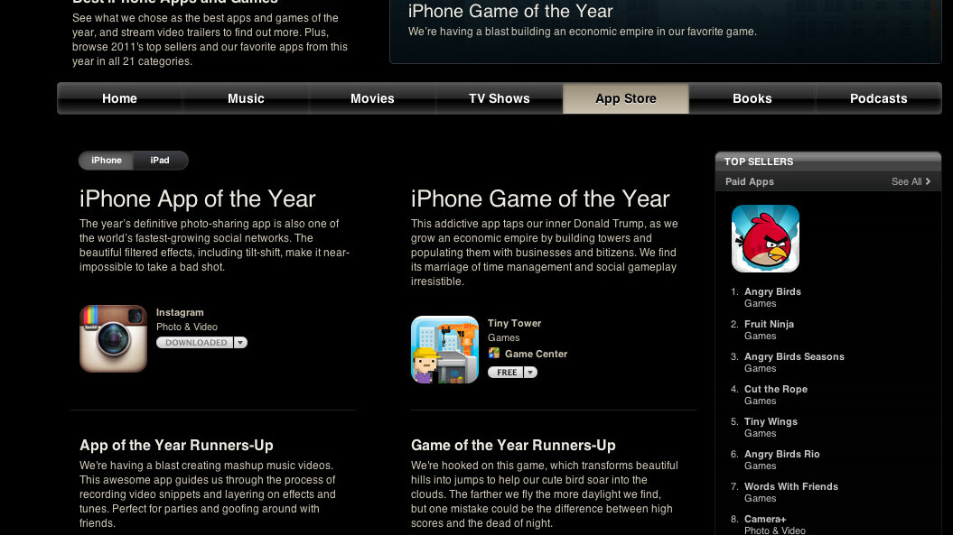 Apple's Rewind 2011 lists top apps, games, movies, music, books and podcasts of the year