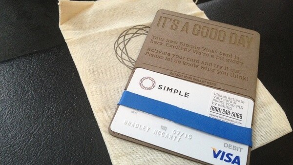 This is what a debit card delivery from Simple looks like