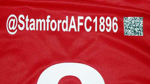 English football club Stamford AFC will include club's Twitter handle and QR code on players' shirts