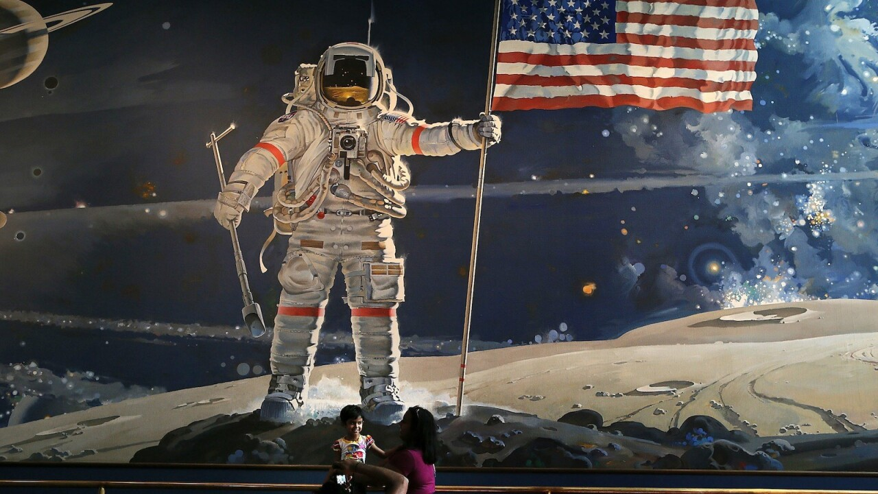 These high tech sneakers commemorate the 45th anniversary of the moon landing
