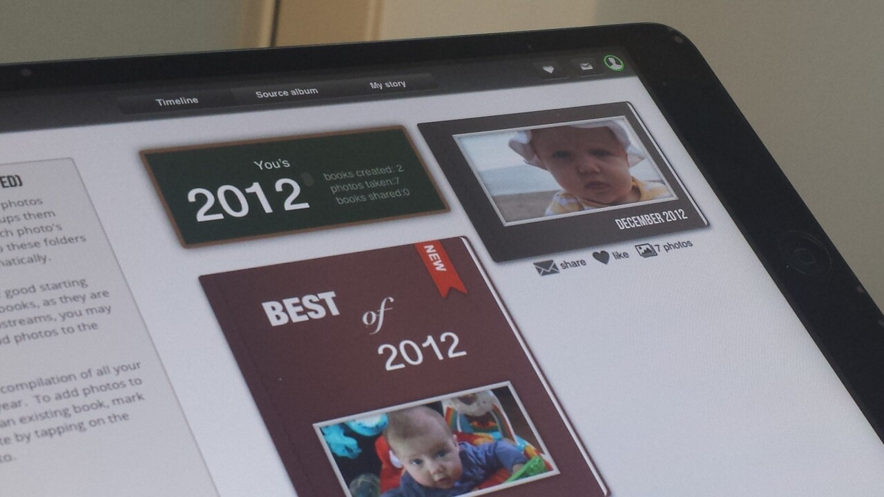 Tapsbook for iPad taps photos from your camera-roll and cloud storage and turns them into albums