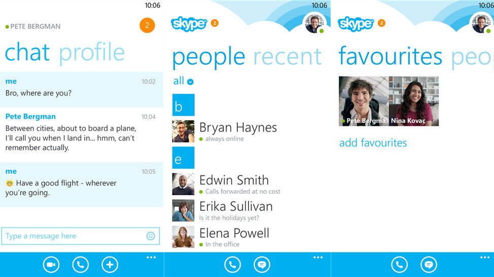 Skype for Windows Phone 8 gets a people list filter and new homescreen layout