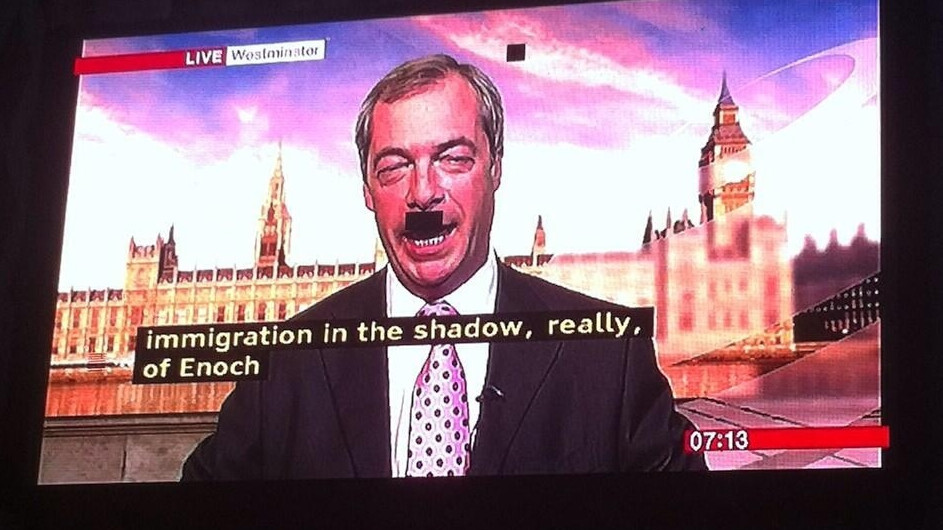 Unintentional comedy gold: Pixel fault gives politician a rather unfortunate moustache during interview.
