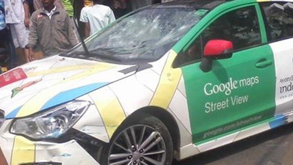 Google Street View car crashes into TWO minivans and a parked vehicle – driver runs off [Photos]
