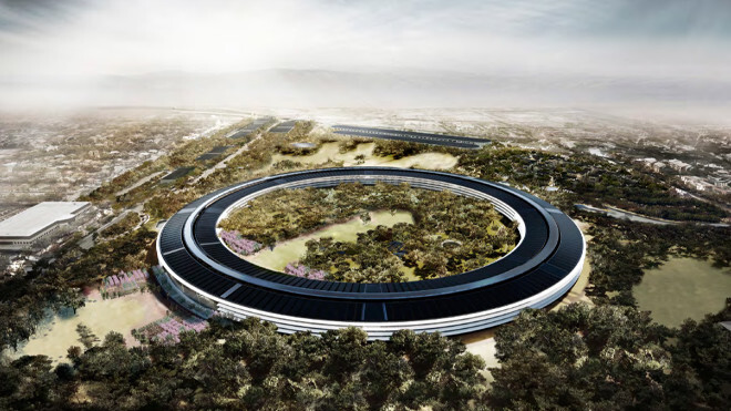 This video shot by a flying drone shows Apple's spaceship campus in construction