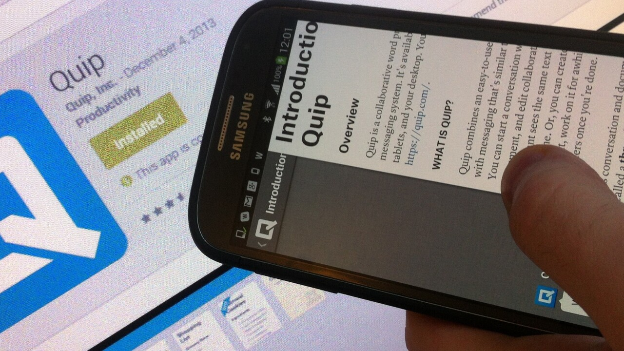 Quip, ex-Facebook CTO Bret Taylor's collaborative word processing app, officially arrives for Android