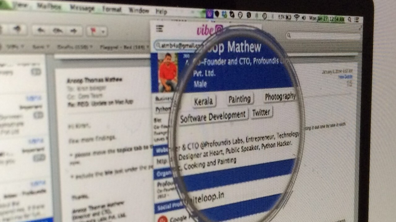 Find the person behind an email address with Vibe for Mac and Chrome