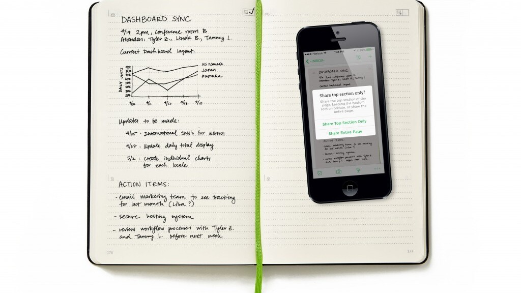 Evernote and Moleskine's new business notebook gives you more ways to share and organize pages