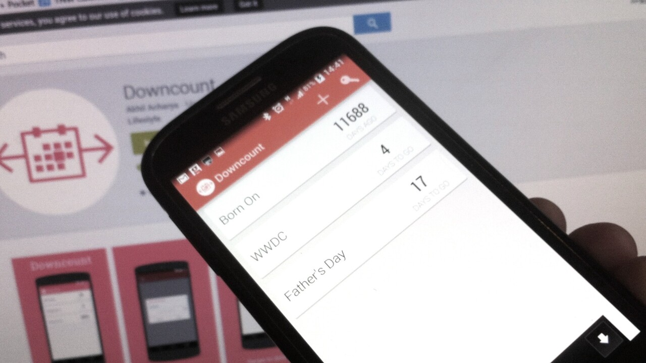 Downcount for Android is a simple way to count down to any event