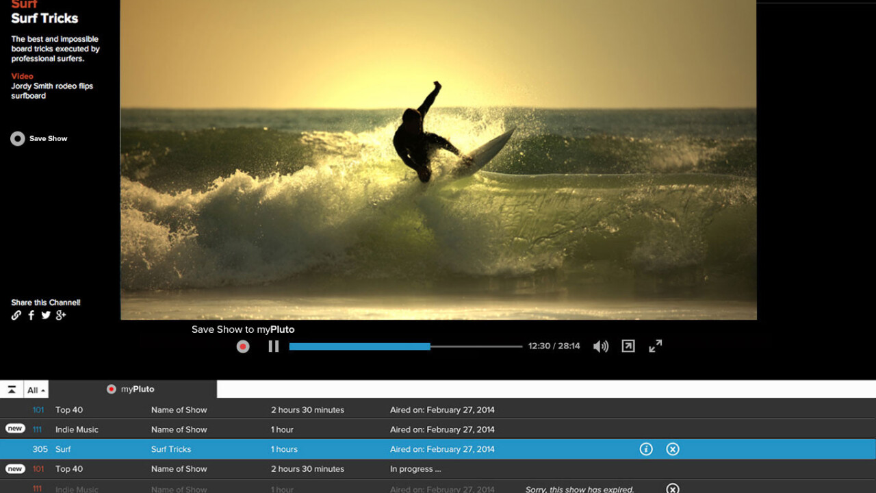 Web TV service Pluto.TV adds a DVR feature so you can save shows for later
