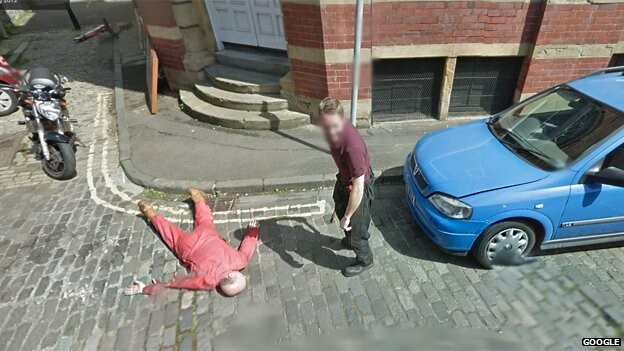 What do you do when you see a Google Street View car? These guys staged a murder.
