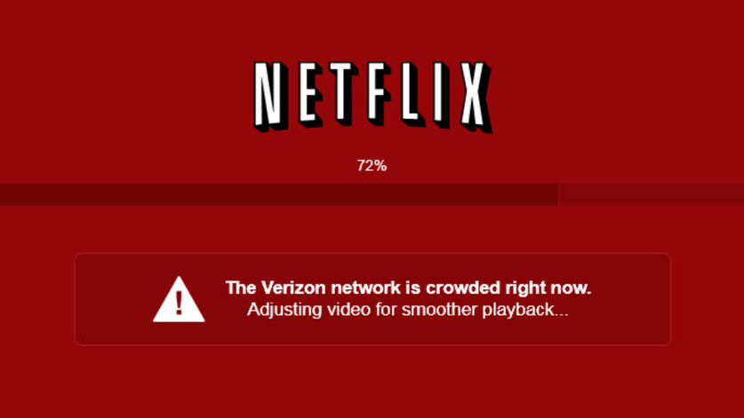Verizon sends cease and desist letter to Netflix over buffering message that blames ISP