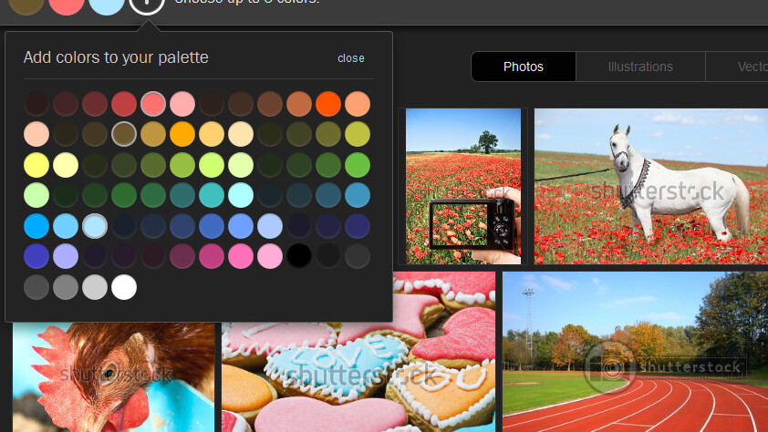 Shutterstock's 'Palette' tool helps you find stock photos based on color combinations
