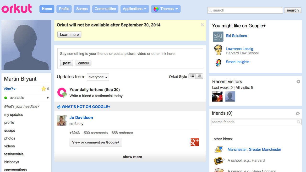 Google is closing Orkut, its first social network, today