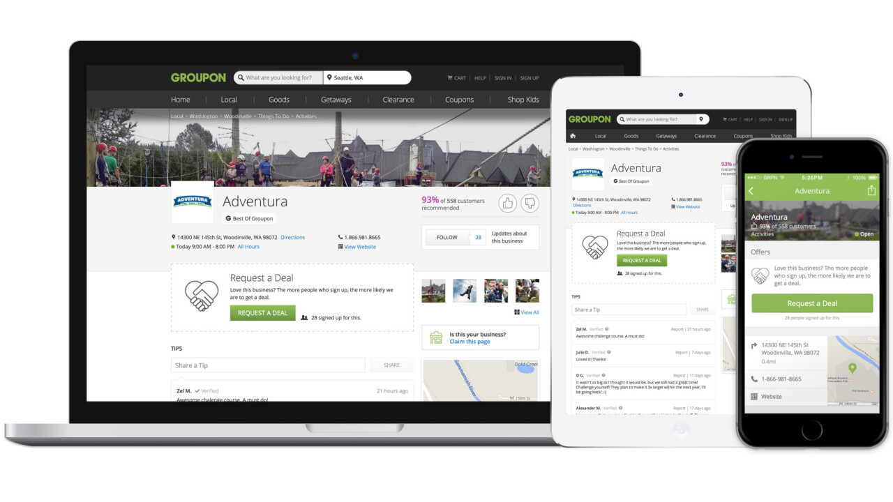 Groupon's site now has dedicated pages for 7 million businesses across the US