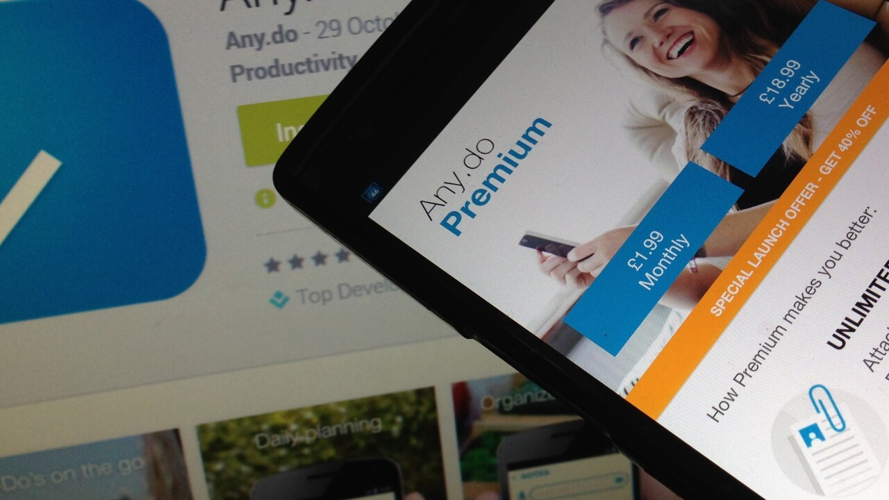 Any.do goes freemium with a slew of new features, costing $5/month or $45/year