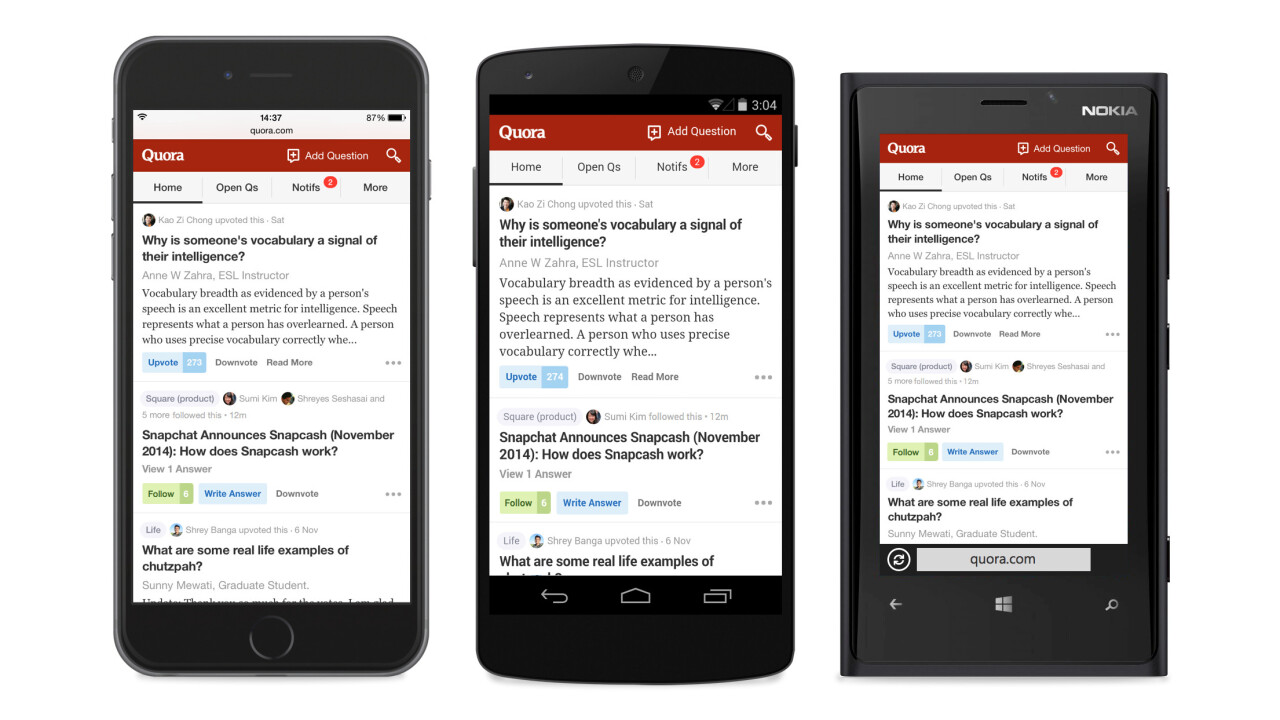 Quora redesigns its mobile website with an app-like interface as it achieves product parity