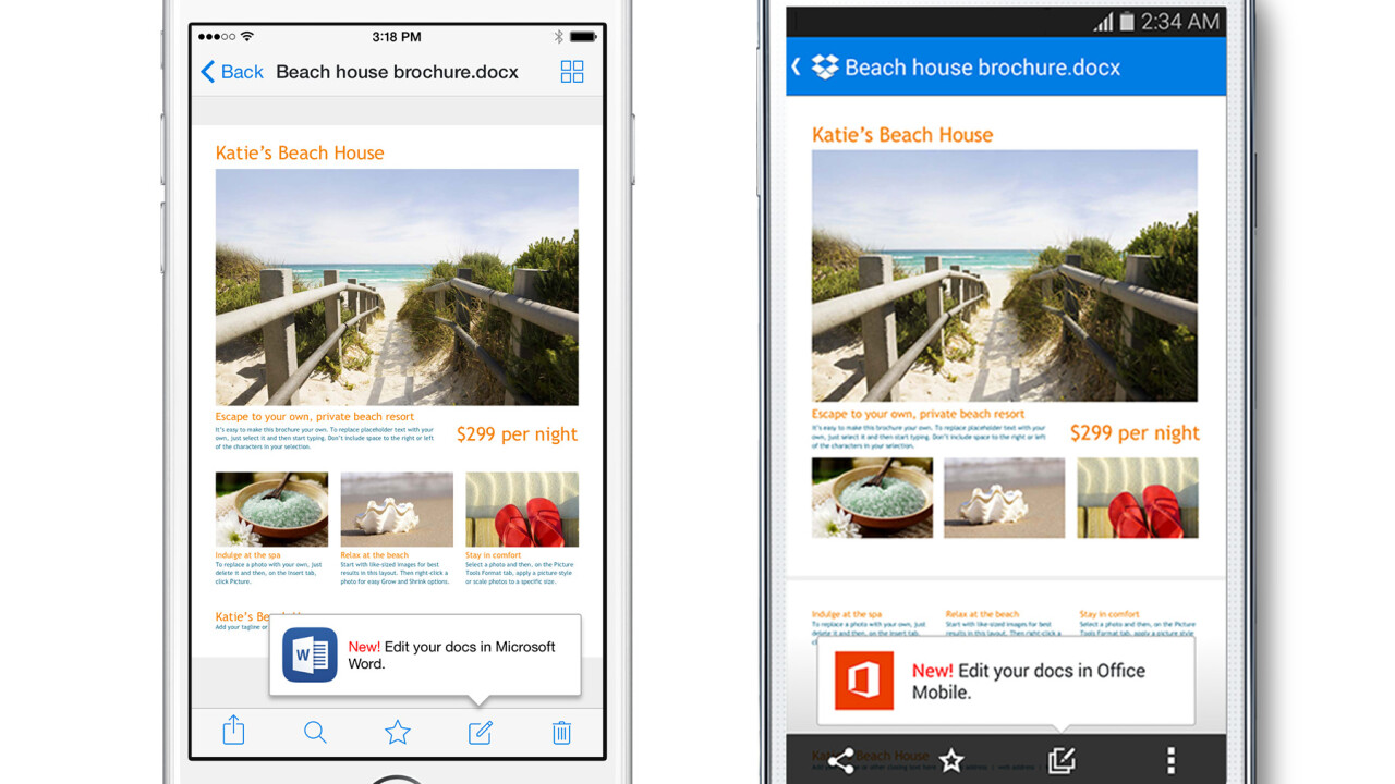 Dropbox's integration with Microsoft's Office apps is now live for iOS and Android devices